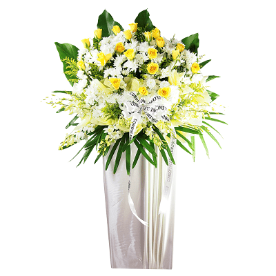 FS-09 BUT WHITE FUNERAL FLOWER STAND