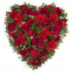 HSW-01 RED rose carnation gerbera HEART SHAPE WREATH