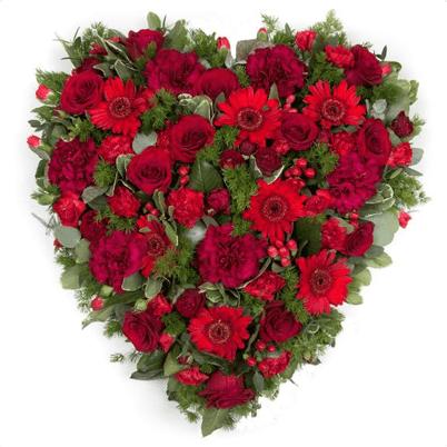 HSW-01 RED rose carnation gerbera HEART SHAPE WREATH
