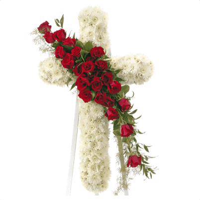 CW-03 buy red roses white cross wreath singapore