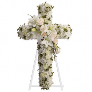 CW-01 buy white cross wreath singapore