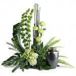 FUF-07 green and white FUNERAL URN FLOWERS