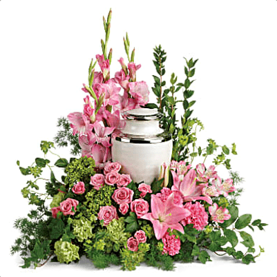 FUF-06 pink roses and stargazer lilies FUNERAL URN FLOWERS