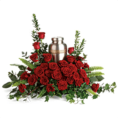 FUF-05 red roses FUNERAL URN FLOWERS