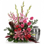 FUF-04 pink lilies and roses FUNERAL URN FLOWERS