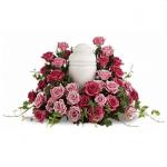 FUF-02 pink purple roses FUNERAL URN FLOWERS