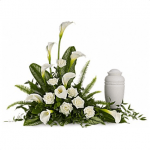 FUF-01 WHITE ROSES CALLA LILY FUNERAL URN FLOWERS