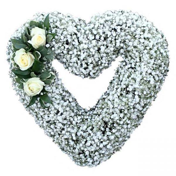 baby breath open heart shaped wreath
