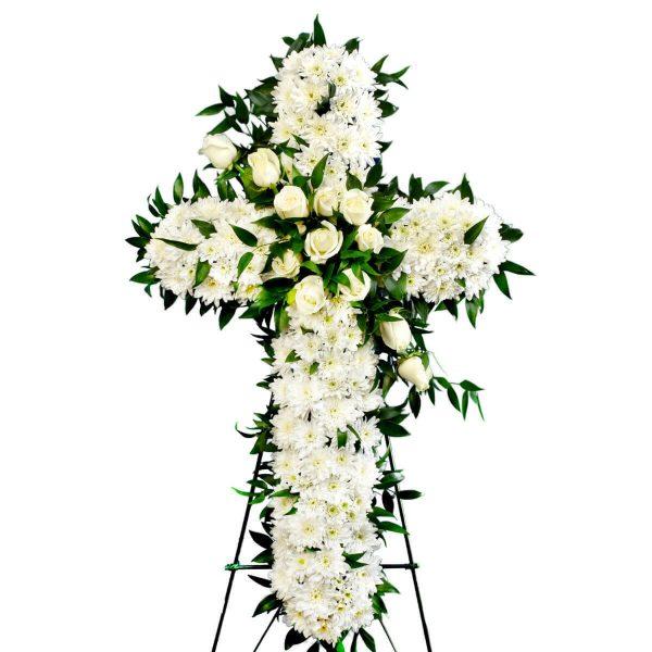 cross wreath white roses