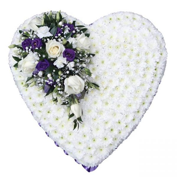 love heart wreath for funeral with white rose