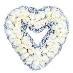 open heart funeral wreath white rose Singapore