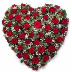 red rose closed heart funeral wreath